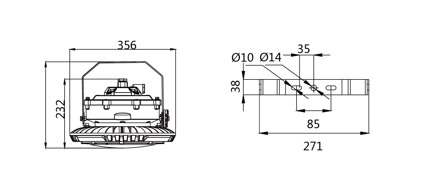 explosion proof light dimensions